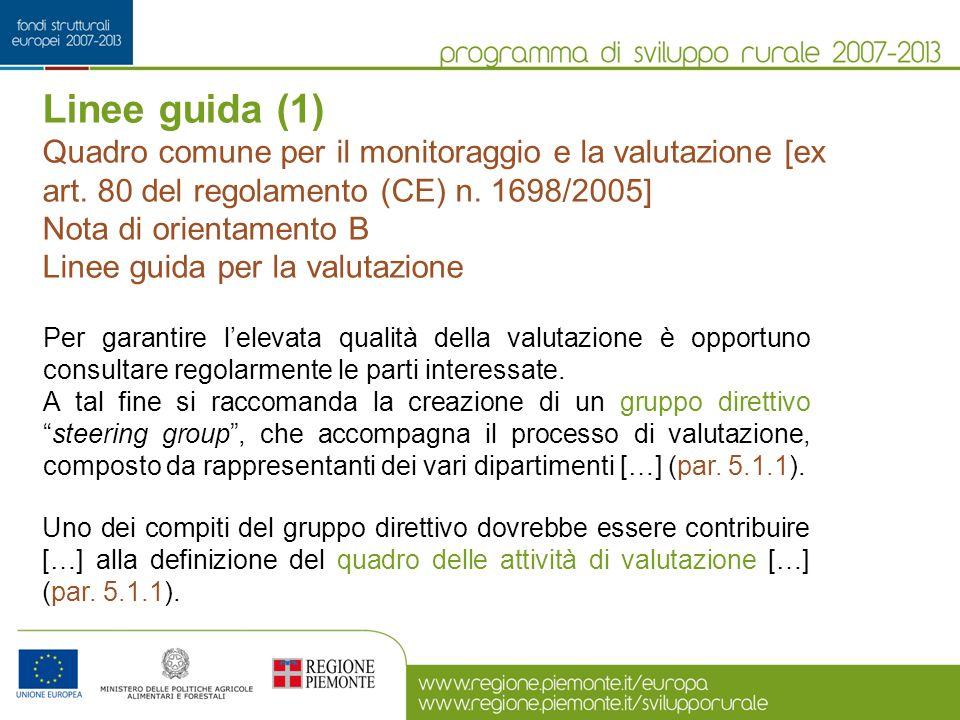 Linee guida (1) Quadro comune per il monitoraggio e la valutazione [ex art. 80 del regolamento (CE) n. 1698/2005]